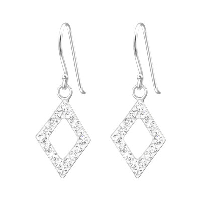 Silver Diamond Shape Earrings with Crystal