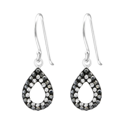 Silver Pear Earrings with Crystal