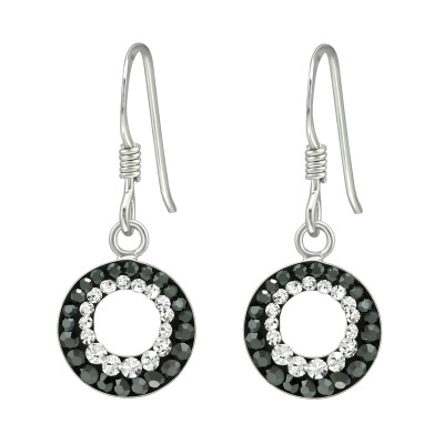 Silver Round Earrings with Crystal