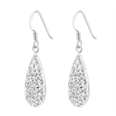 Silver Drop Earrings with Crystal