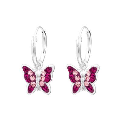 Silver Butterfly Crystal Earrings