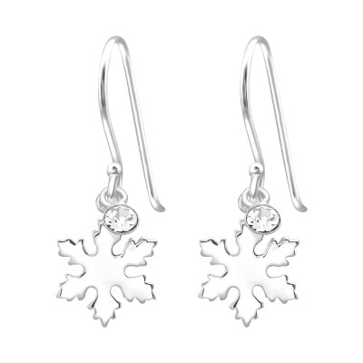 Silver Snowflake Earrings with Crystal