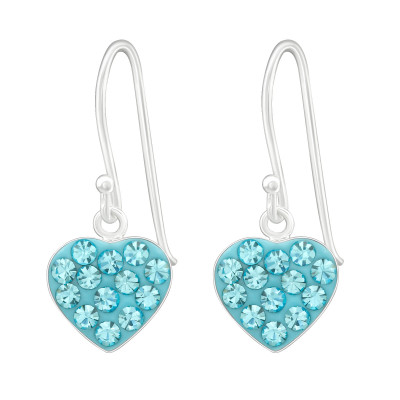 Silver Heart Earrings with Crystal