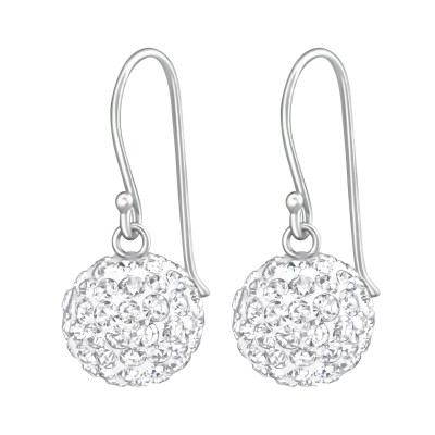 Silver Crystal Ball Earrings with Crystal