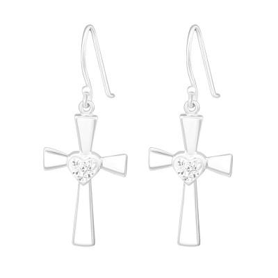 Silver Cross Earrings with Crystal