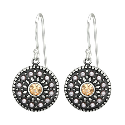 Silver Round Earrings with Synthetic Pearl and Crystal