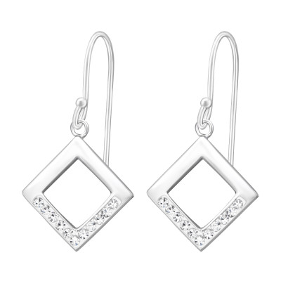 Silver Square Earrings with Crystal