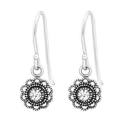 Silver Flower Earrings with Crystal