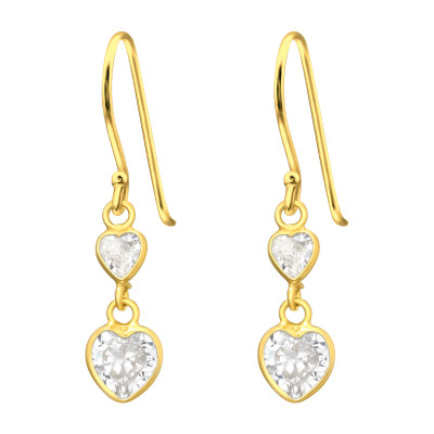 Silver Hanging Hearts Earrings with Cubic Zirconia