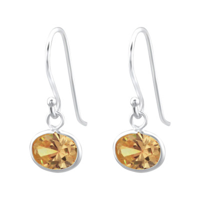 Silver Oval Earrings with Cubic Zirconia