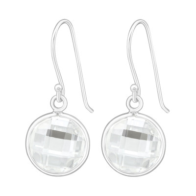 Silver Round Earrings with Cubic Zirconia