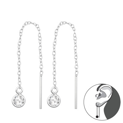 Silver Thread Through Round Earring with Cubic Zirconia
