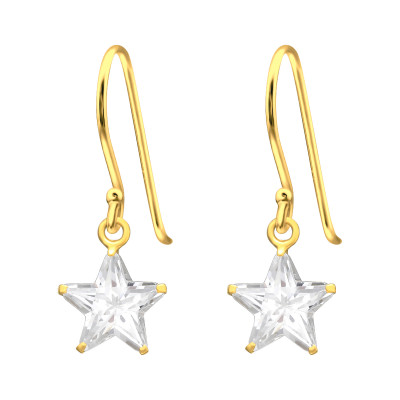 Silver Star Earrings with Cubic Zirconia