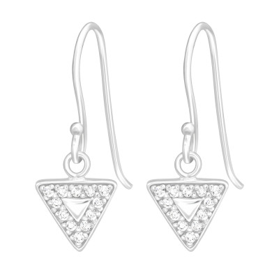 Silver Triangle Earrings with Cubic Zirconia