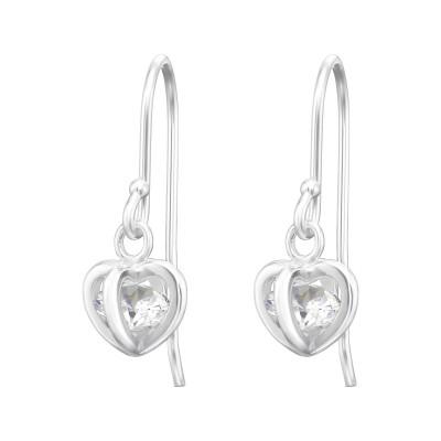 Silver Heart Earrings with Cubic Zirconia
