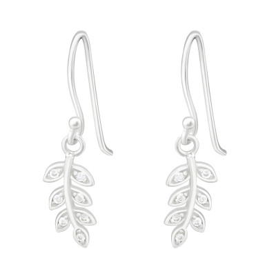 Silver Leaves Earrings with Cubic Zirconia