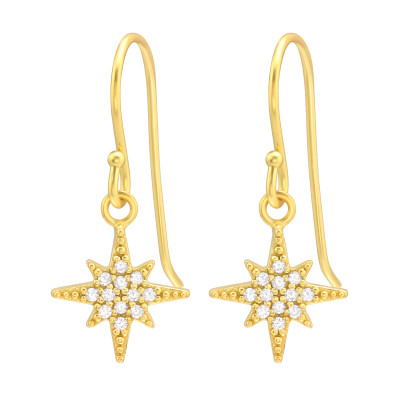 Silver Northern Star Earrings with Cubic Zirconia
