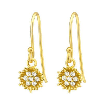 Silver Flower Earrings with Cubic Zirconia