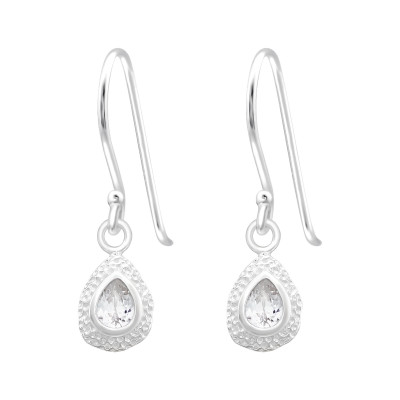 Silver Pear Earrings with Cubic Zirconia