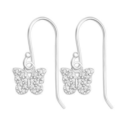 Silver Butterfly Earrings with Cubic Zirconia