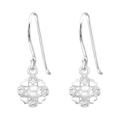 Silver Heart Earrings with Cubic Zirconia and Synthetic Pearl
