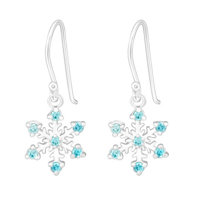 Silver Snowflake Earrings with Cubic Zirconia