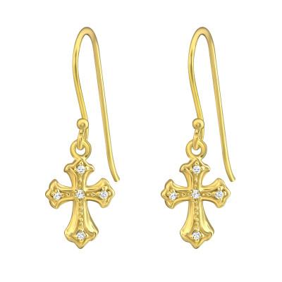 Silver Cross Earrings with Cubic Zirconia