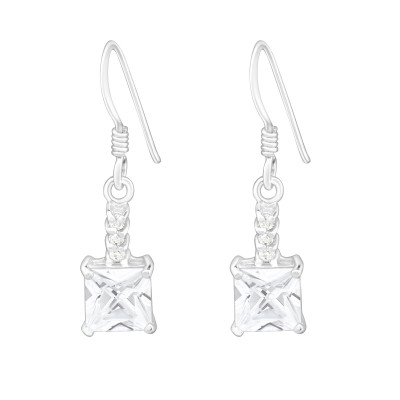 Silver Square Earrings with Cubic Zirconia