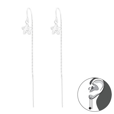 Silver Thread Through Star Earring with Cubic Zirconia