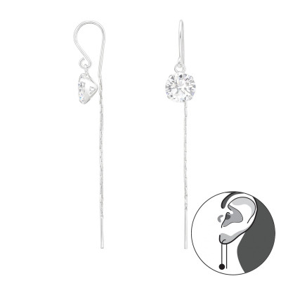 Silver Thread Through Round Earrings with Cubic Zirconia