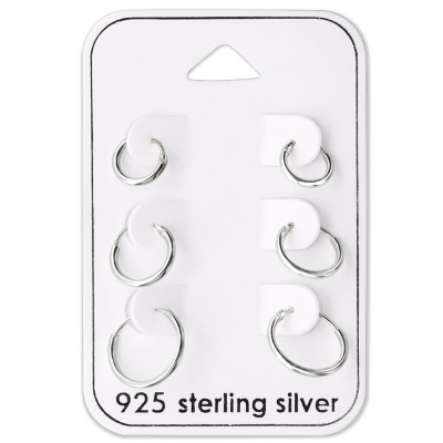 Silver 8mm, 10mm and 12mm Ear Hoop Set on Card