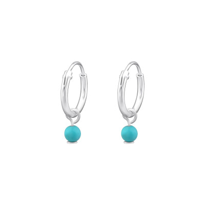 Silver Ear Hoops with Hanging Round and Turquoise