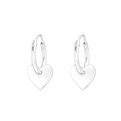 Silver Ear Hoops with Hanging Heart