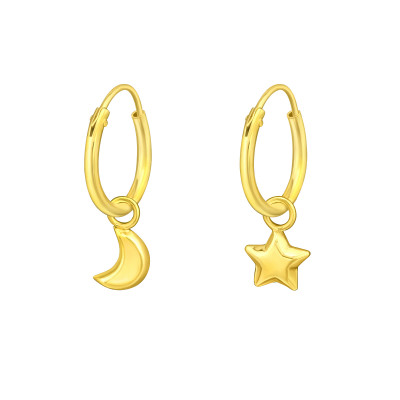Silver Ear Hoops with Hanging Moon and Star