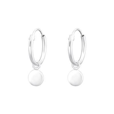 Silver Ear Hoops with Hanging Disc