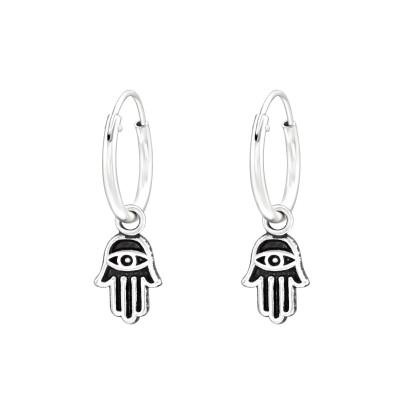 Silver Ear Hoops with Hanging Hamsa