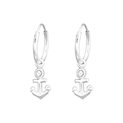 Silver Ear Hoops with Hanging Anchor and Crystal
