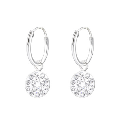 Silver Ear Hoops with Hanging Round and Crystal