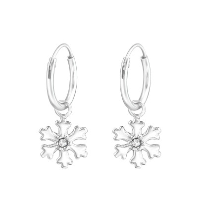 Silver Ear Hoops with Hanging Snowflake and Crystal