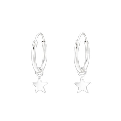 Silver Ear Hoops with Hanging Star