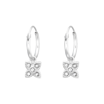 Silver Ear Hoops with Hanging Flower and Crystal