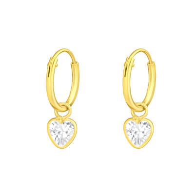 Silver Ear Hoops with Hanging Heart and Cubic Zirconia