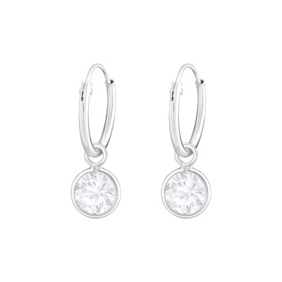 Silver Ear Hoops with Hanging Round and Cubic Zirconia