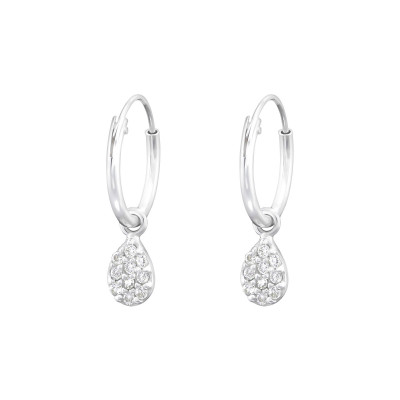 Silver Ear Hoops with Hanging Pear and Cubic Zirconia