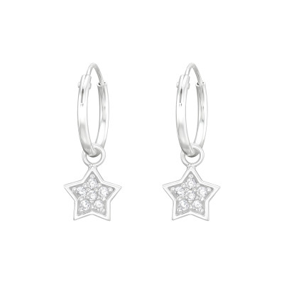 Silver Ear Hoops with Hanging Star and Cubic Zirconia