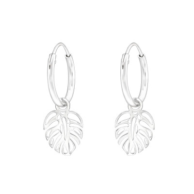Silver Ear Hoops with Hanging Laser Cut Leaf