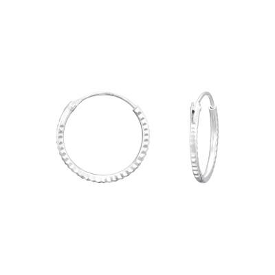Silver Diamond Cut 14mm Ear Hoops
