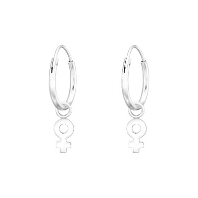 Silver Ear Hoops with Hanging Female Gender Sign