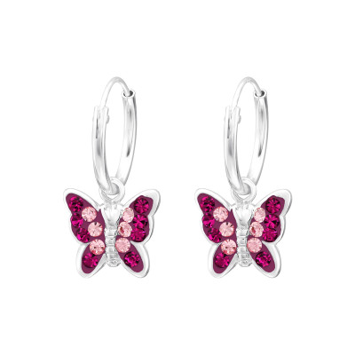 Silver Ear Hoops with Hanging Butterfly and Crystal