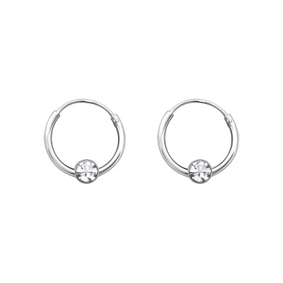 Silver Round Ear Hoops with Crystal